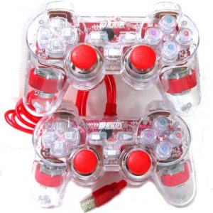 USB Transparent Dual Shock GamePad Dual Player With Vibration (Double)